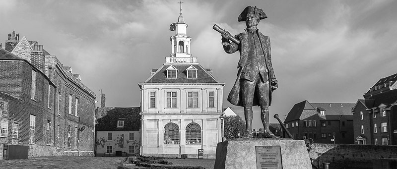 Statue of George Vancouver and Custom House, Purfleet Quay, King's Lynn, Norfolk