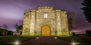 Photo of gatehouse at Pentney Abbey , at twighlight