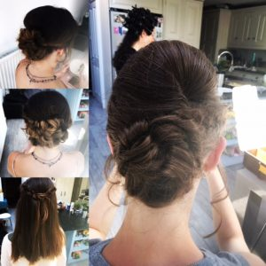 1 large and 3 small images of the back of bridesmaid's' hair , 4 different women a variety of styles