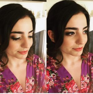 2 images of brunette bridesmaid, 1 with et=yes closed, smling, hair down wearing purple flowered top