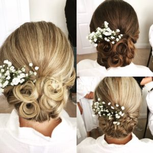 Triptych of photos showing back of bridesmaids hair in up dos with gypsophilia