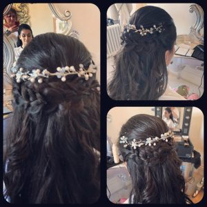 3 different photos in a montage of the back of a long haired brunette bride's hair