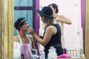 """Photo of stylist Elloise hard at work on """"Don't Tell the Bride"""""""