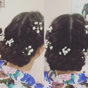 2 photos of back of bridesmid's hair