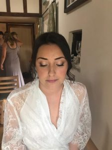 photo of bride with eyes closed