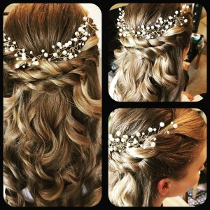 3 photos of bacview of blonde brides hair clurly woth briaid detail and flowerss