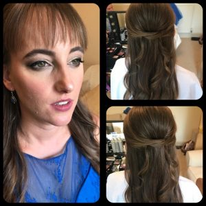 3 photos showing hair and make up for maid of honour, brunette hair , long, blue dress