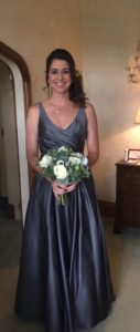 full lenc=gth photo of brunette bridesmaid