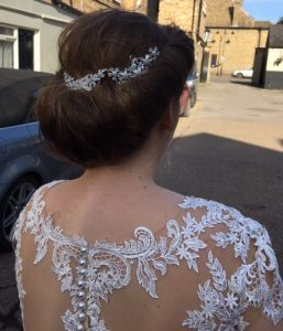photo of the back of brides hair